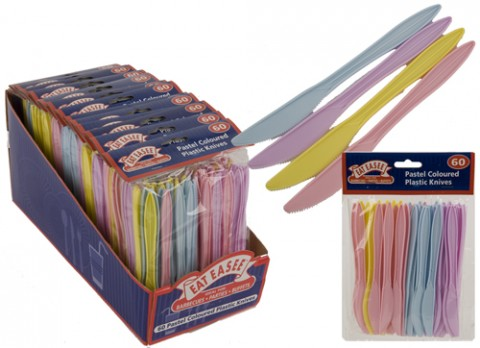 60 pack pastel coloured plastic knives