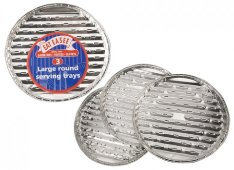 3 large round foil trays