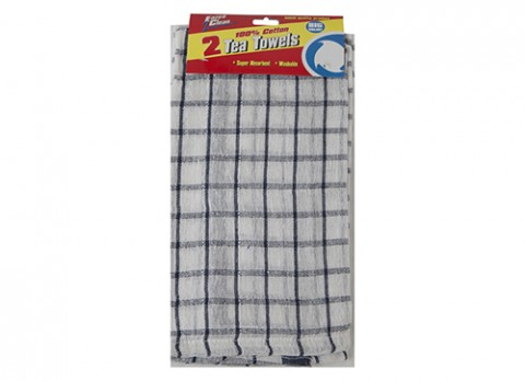 Twin pack check tea towels 15x25 inch