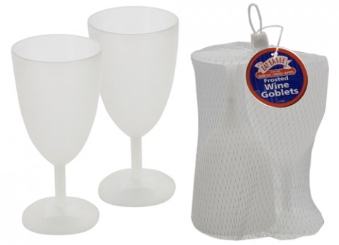 Twin pack clear frosted large wine glass