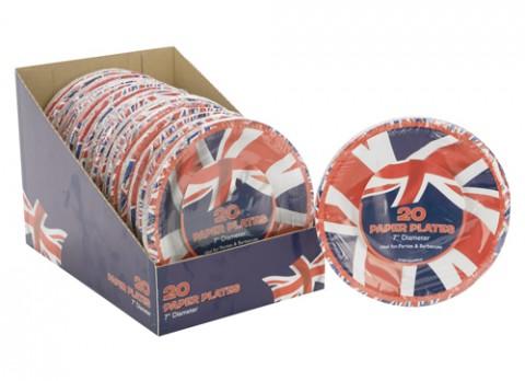 20 pc union jack paper plates