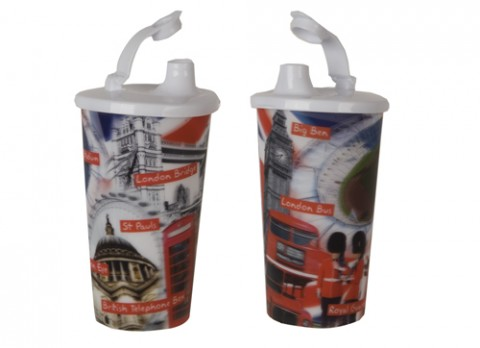 Lenticular london icons drinks cup w-lid