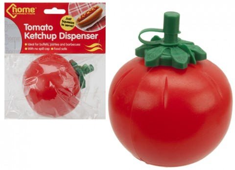 Round shape squeezee red tomato ketchup dispenser