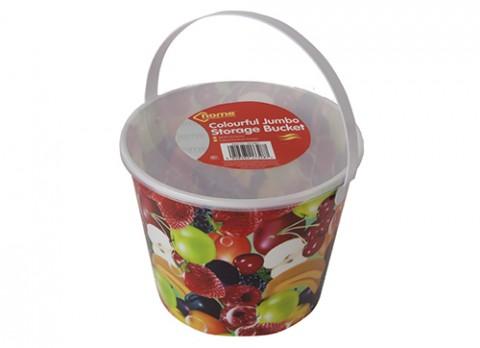 Jumbo fruit design full decal storage bucket w-lid and  handle