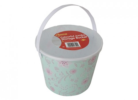 Jumbo pink flowers full decal storage bucket w-lid and  handle