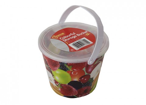 Medium fruit design full decal storage bucket w-lid and  handle