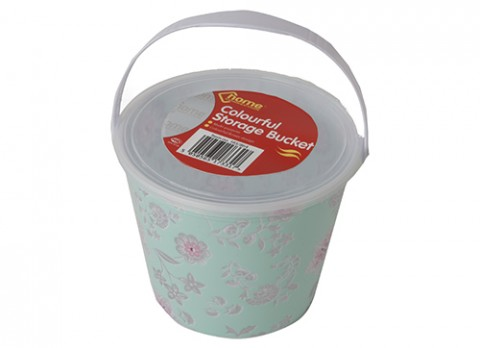 Medium pink flowers full decal storage bucket w-lid and  handle