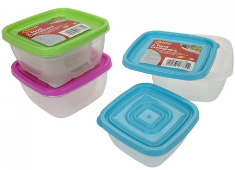 2pc square airtight food container with lid