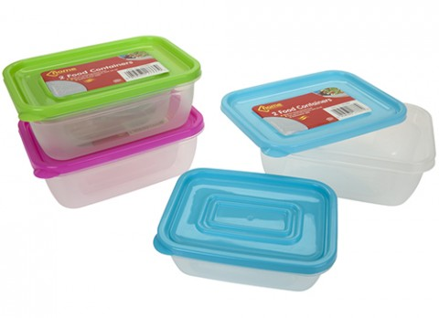 2pc oblong airtight food container with lid