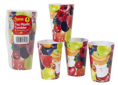 4pc fruit design decal 7oz plastic tumblers