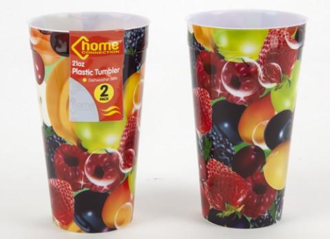 2pc fruit design decal 21oz plastic tumblers