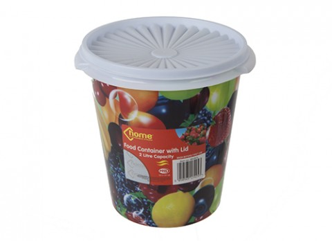2ltr 7 inch  dia. Tapered round plastic pot w-lid in fruit