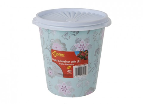 2ltr 7 inch  dia. Tapered round plastic pot w-lid pink flower