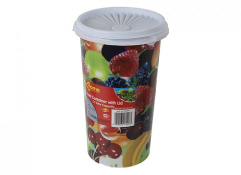 1.5ltr 8.5 inch  x 5 inch  tall plastic pot w-lid in fruit design