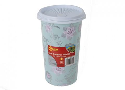 1.5ltr 8.5 inch  x 5 inch  dia plastic pot w-lid in pink flower des