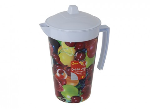 1.4ltr round drinks jug w-lid in fruit des