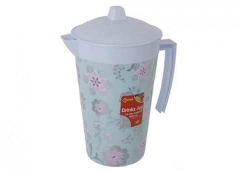 1.4ltr round drinks jug w-lid in pink flower design
