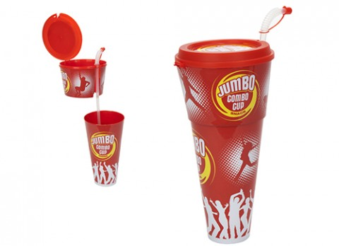 13 inch mega jumbo snack food-drink combo cup w-flexi straw