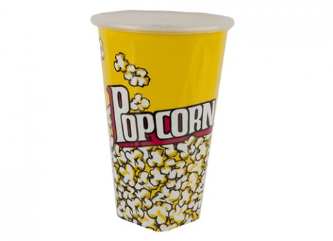 Tall popcorn design decal cup with lid