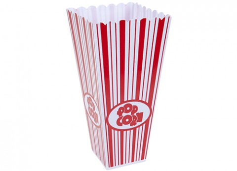 Tapered square plastic popcorn container w-red print