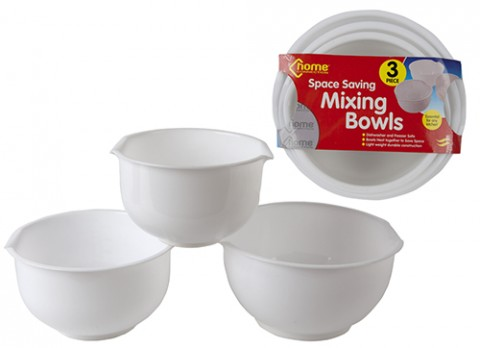3pce pure white nested mixing bowl
