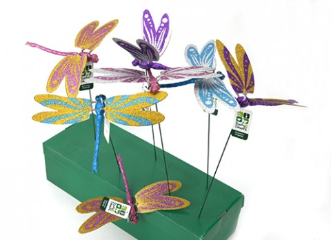 12 inch  glitterdragonfly with moving wings w-20 inch  metal rod