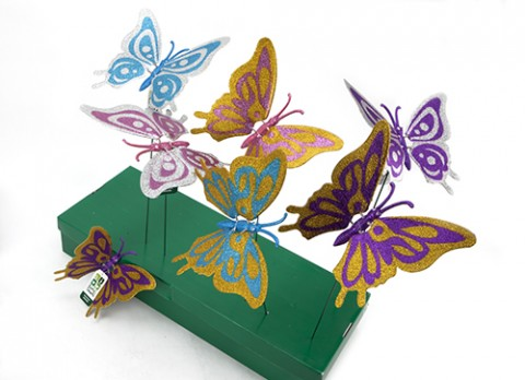 9.5 inch  glittered butterfly with moving wings on 20 inch metal rod