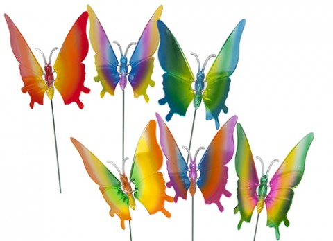 9.5 inch  coloured metallic butterfly w-moving wings