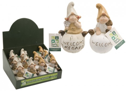 Character gnomes sitting garden ornaments