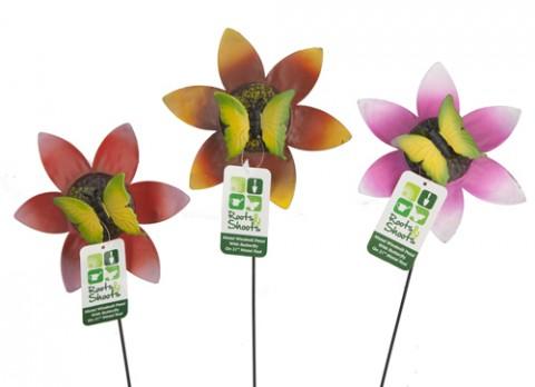 Metal windmill petal butterfly on 21 inch  metal rod