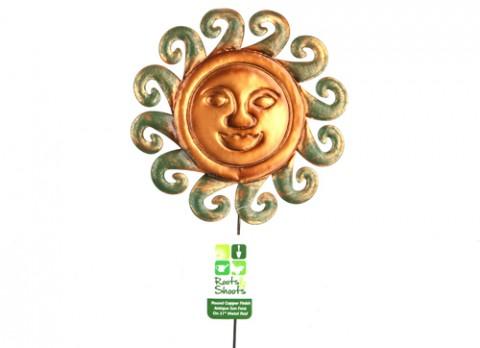 Round copper finish antique sun face