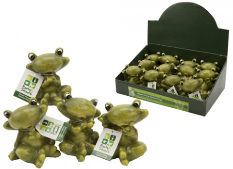 Glazed sitting comical frogs
