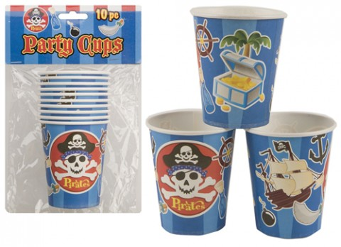 250ml pirate design party cups 10 pack