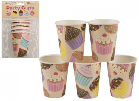 10 pack 250ml cupcake design party cups