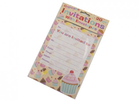 20 pack cupcake party invatations with envelopes