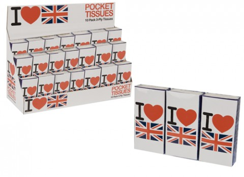 10pk i love uk pocket tissues