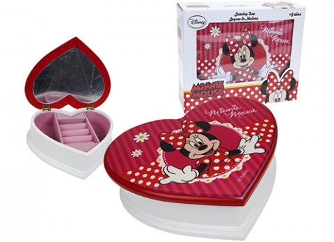 Minnie red heart shaped jewellery box