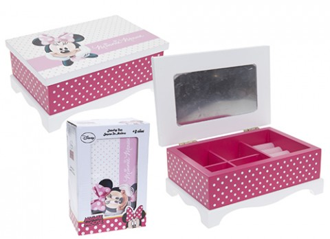 Minnie pink jewellery box with mirror