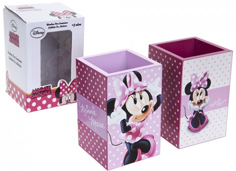 Minnie pink wooden pen pot