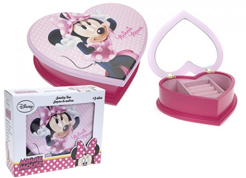 Minnie pink heart shaped jewellery box