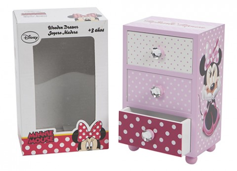 Minnie pink wooden jewellery drawer