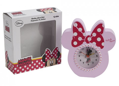 Minnie pink wooden clock