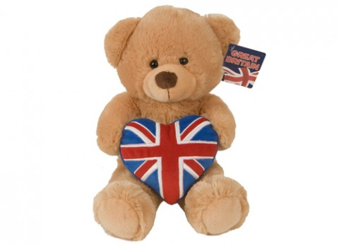 Deluxe bear with union jack heart
