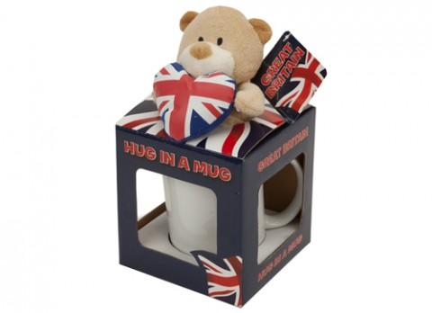 Union jack bear with heart  in mug