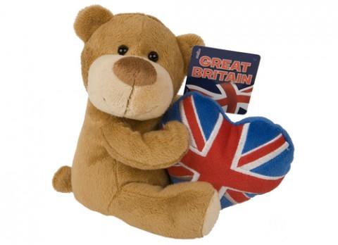 8 inch  beanie bear with union jack heart