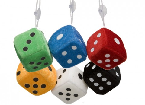 6x6cm square plush dice with  sucker hanger
