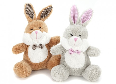7 inch  cute bunny with check bow tie
