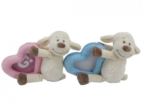 8 inch  sitting baby lamb with picture frame