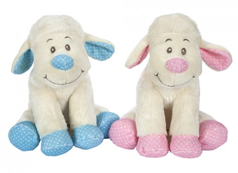 8 inch  sitting baby lamb with rattle