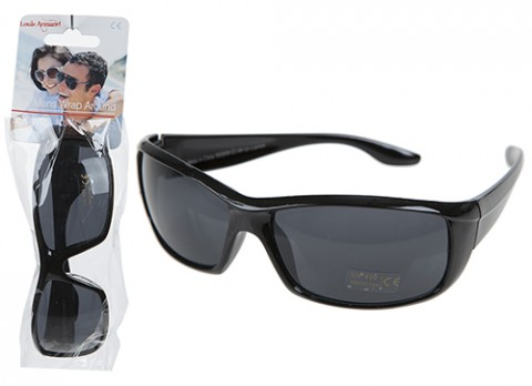 Mens wrap around plastic sunglasses